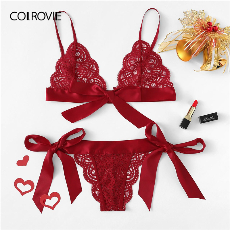 COLROVIE Red Christmas Scalloped Trim Tie Side Sexy Lingerie Set 2019 Wireless Ribbon Intimates Transparent Underwear Bra Set