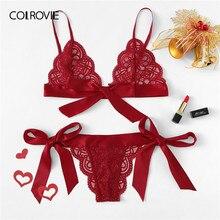 b9c838bc3ce6 COLROVIE Red Christmas Scalloped Trim Tie Side Sexy Lingerie Set 2019  Wireless Ribbon Intimates Transparent Underwear Bra Set