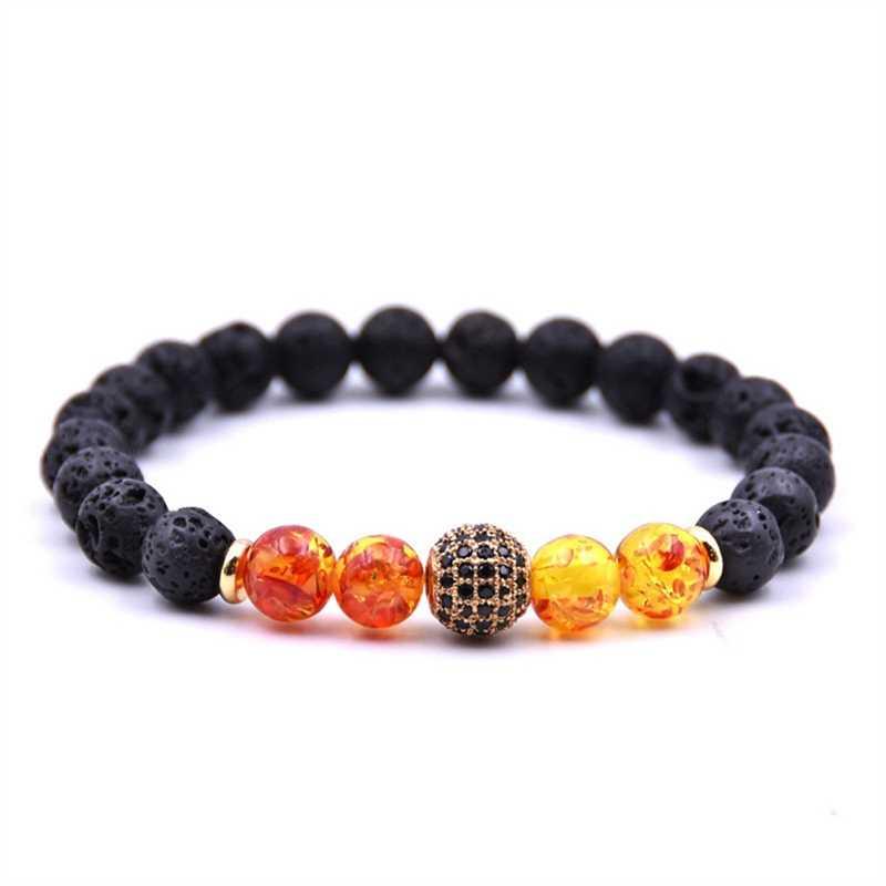 Jual Panas Ambers Lava Stone Alami Stone Manik Gelang dengan Mikro Paving Manik Perhiasan Wanita Pria Hadiah Yoga Regang Gelang