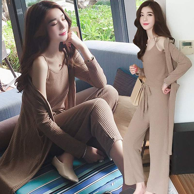 S-4XL New Fashion Tracksuit Women 3 Pieces Set Spring Knitted Long Cardigan + Halter Vest + Bow Loose Long Pants Set