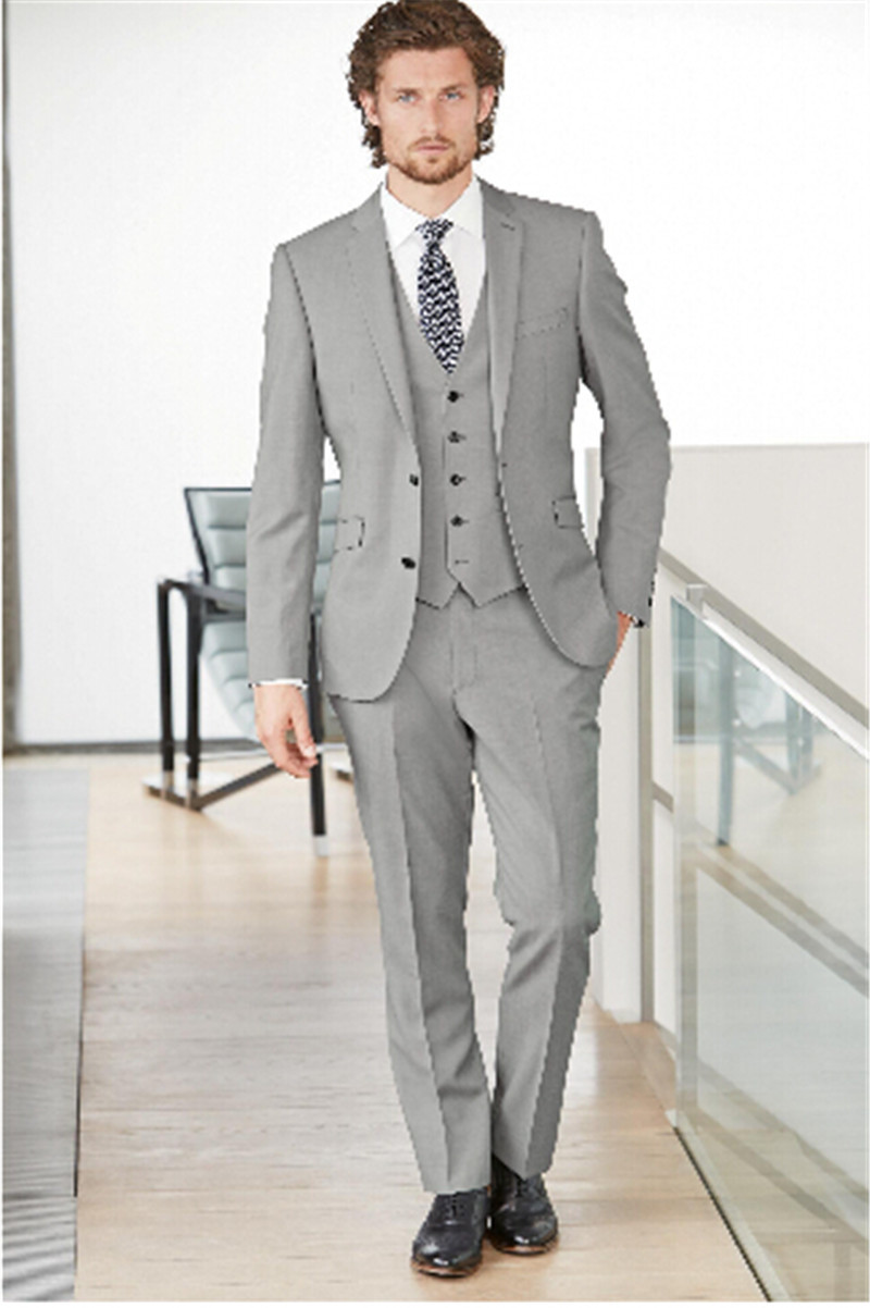 Handsome Side Vent Light Grey Groom Tuxedos Slim Fit Men's Wedding ...
