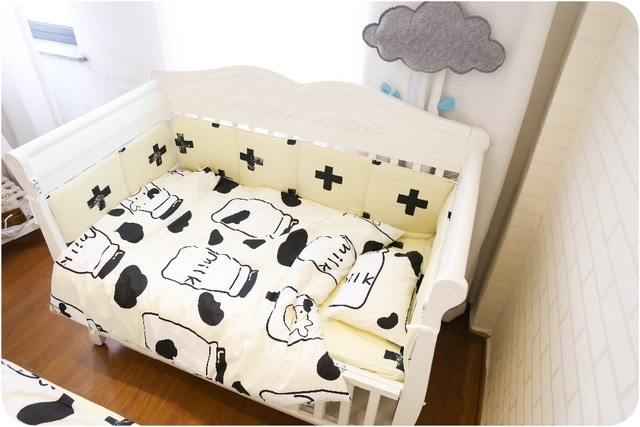7 Pc Cross Cow Fashion Infant Cot Bedding Set For Newborn Babies And 4pc Pas