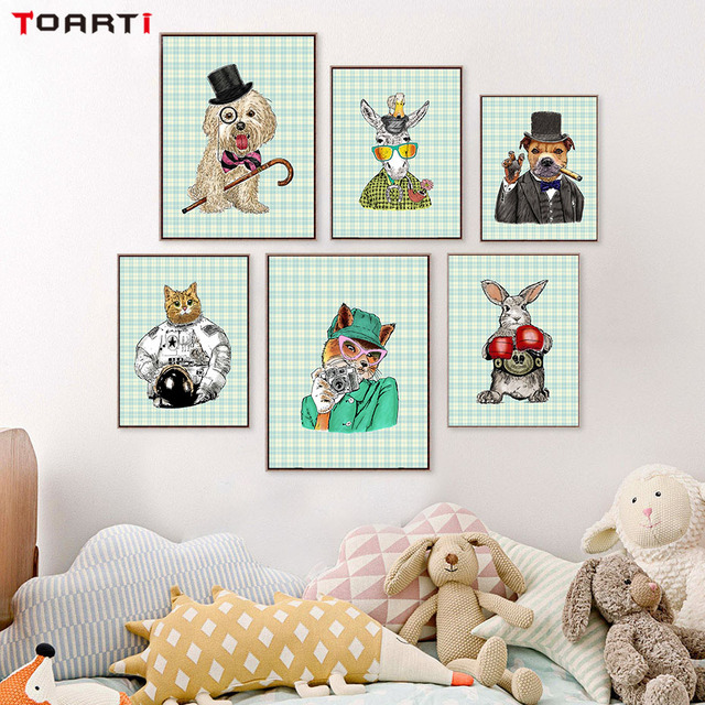 Cartoon Animals Cute Dog Cool Rabbit Canvas Painting Posters And
