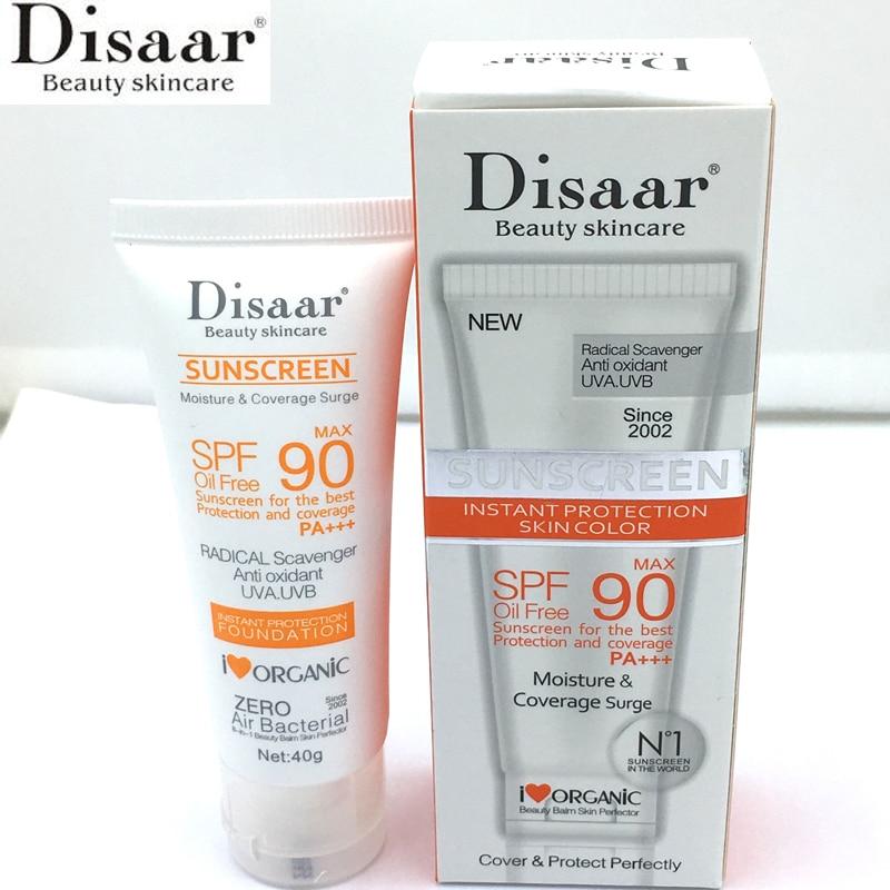 Disaar Beauty Skin Care Facial Sunscreen Cream Spf Max 90 Oil Free Radical Scavenger Anti Oxidant UVA/UVB 40g Sunblock