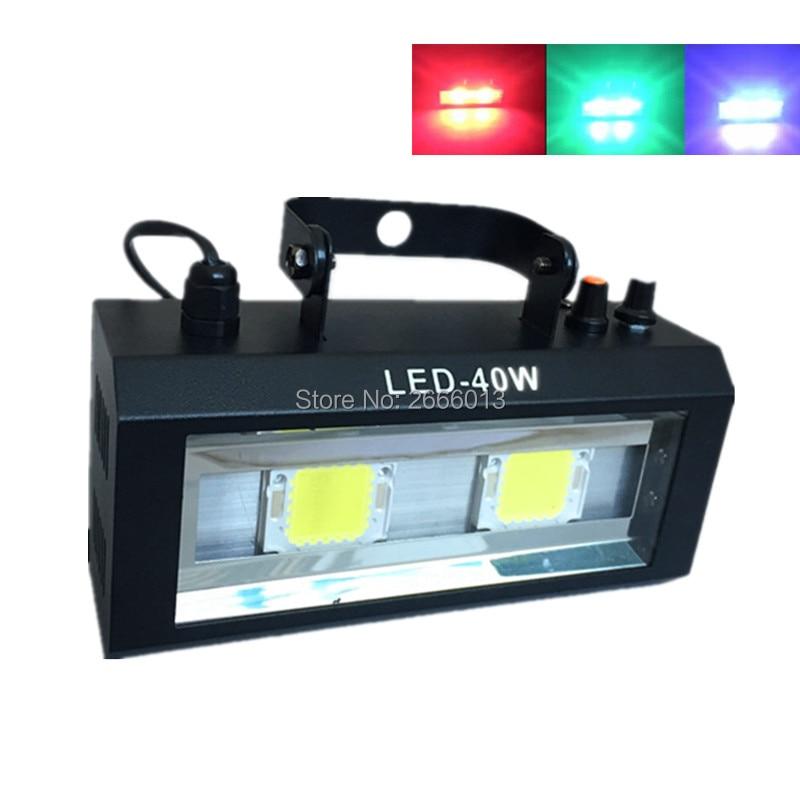Niugul RGB/White color 40W Strobe Mini LED Stage Lighting Effect Lamp 40W LED Flash for DJ Disco Party KTV Room Strobe Light w188a led rgb voice control stage light lamp for ktv bar party white