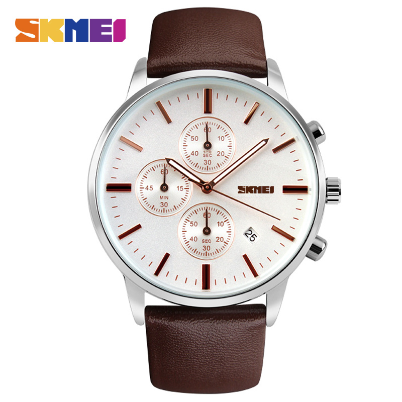 New 2017 Men Watches Luxury Top Brand SKMEI Fashion Men Big Dial Leather Quartz Watch Male Clock Wristwatch Relogio Masculino