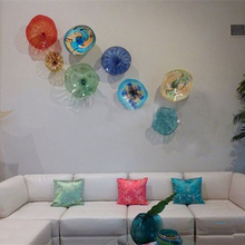Modern Flower Plates Wall Art Colorful Tiffany Luxury Hanging Murano Glass for Living Room Dining