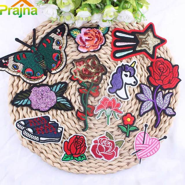 Zotoone 13pcs Mixed Rose Patch Cheap Embroidered Flower Patches Iron