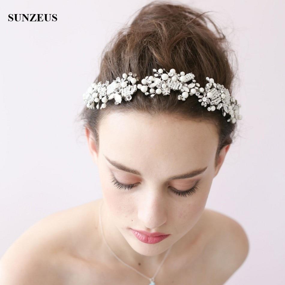 Hand made Luxury Bridal Headbands Crystal Pearls Headpiece Wedding Accessory For Head SQ0191