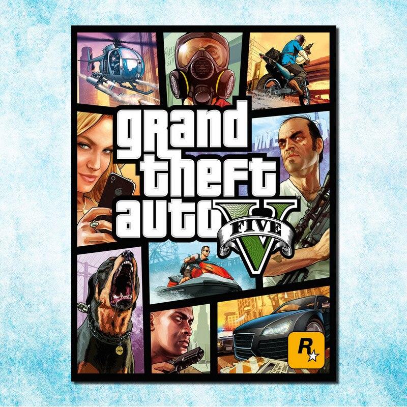 Grand Theft Auto V Game Art Silk Canvas Stampa Poster 13x18 32x43 pollici GTA 5 Muro foto di Soggiorno (più)-4