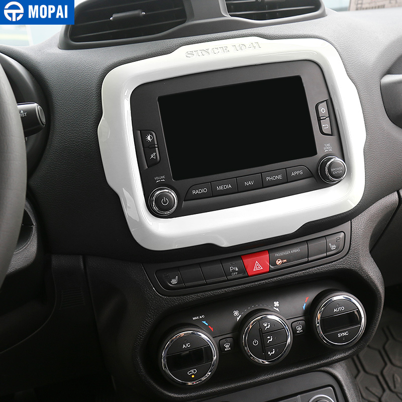 lowest price MOPAI Car Center GPS Navigation Decoration Frame Cover Interior Stickers Accessories for Jeep Renegade 2015-2017 Car Styling