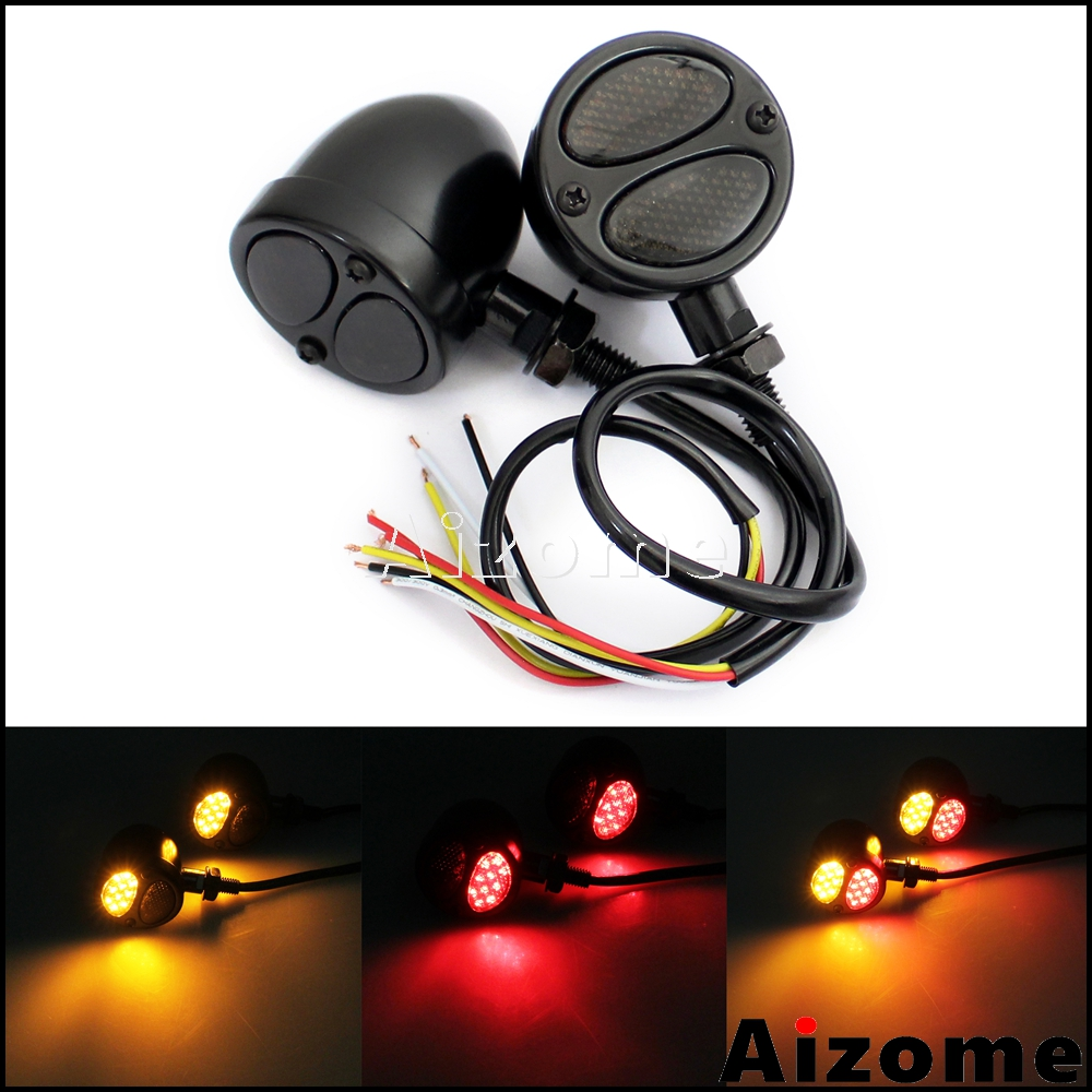 Front Rear Motorcycle 3 in 1 LED Turn Signals w/ Brake Tail Light Blinkers Turn Indicators For Harley Chopper Bobber Cafe Racer   - title=