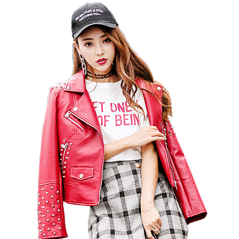 Fashion Full-back Rivet Design Women   Leather   Jacket 2019 New Arrival Punk Style Motorcycle Biker Jacket Womens Faux   Leather   Coat