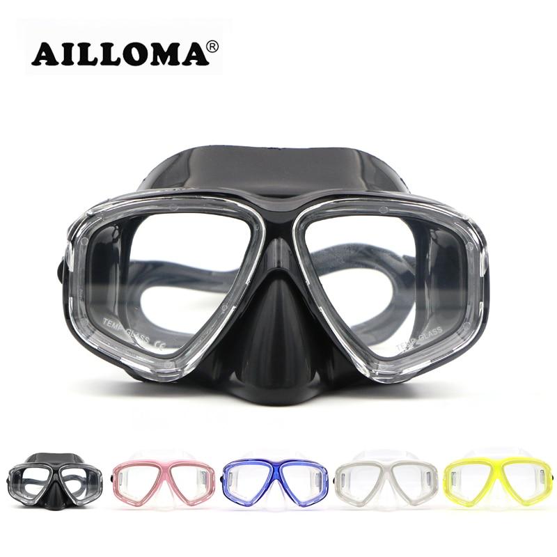 AILLOMA 성인 블랙 실리콘 다이빙 훈련 마스크 핑크 화이트 옐로우 블루 안티 안개 HD 강화 유리 스노클링 수영 마스크