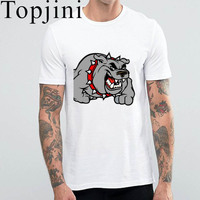 Funny Crazy Dog Print Men T Shirt 2017 Summer Short Sleeve O Neck White Cotton Cartoon