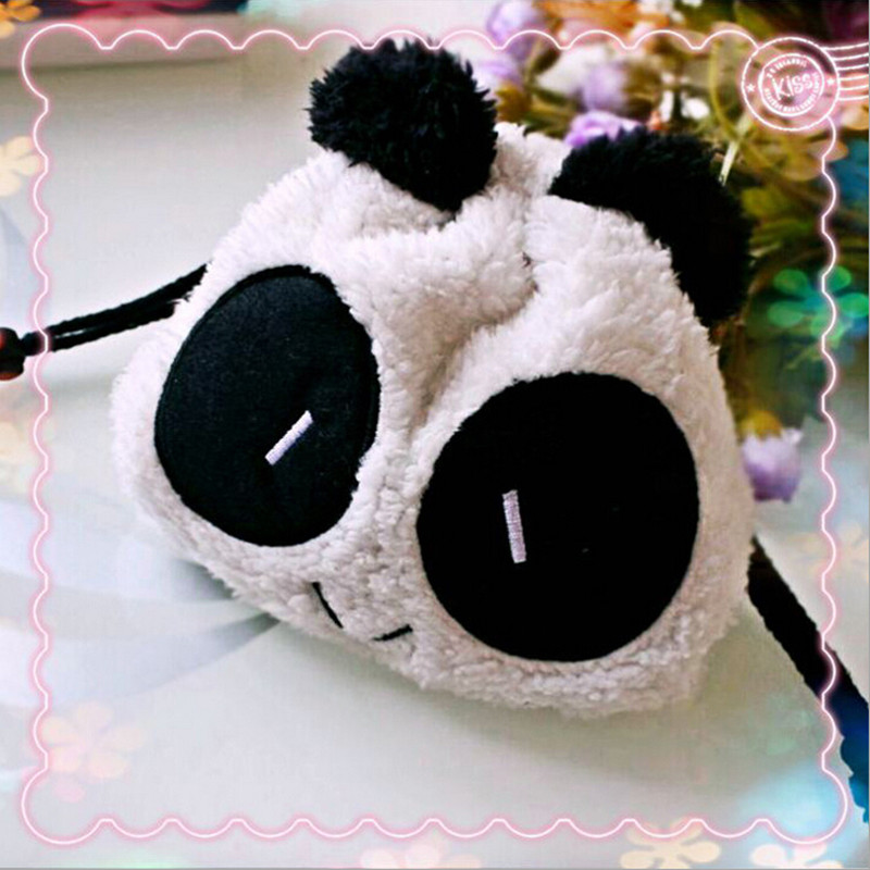 Cartoon Cute Style Panda Soft Plush Cosmetic Bag Pencil Case Coin Wallet Drawstring Storage Bags For Students Girls IC979241
