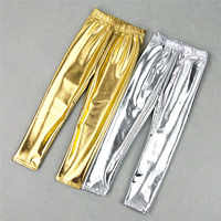 Spring Summer Children Kids Girls Leggins Shiny Gold Silver Skinny Punk Pants Boys Trousers Baby Clothes for 3-12Years