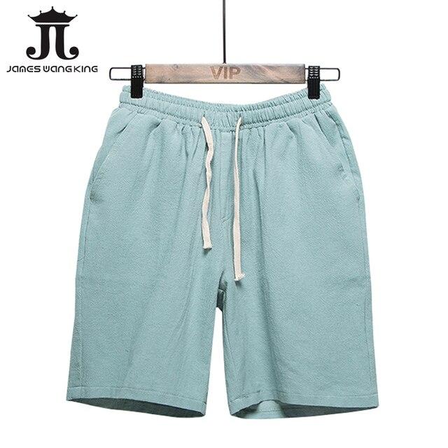 13f28c04fe Verano hombres Shorts Lino más tamaño XXXL hombres pantalones cortos de  algodón blanco de lino media