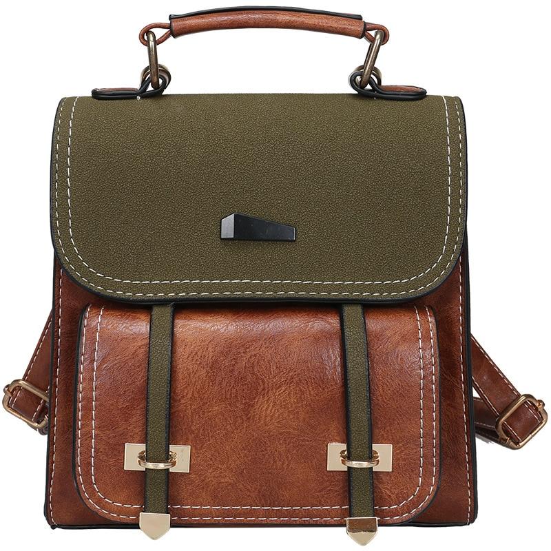 Vintage Women Bag Retro Brown Backpack Leather Shoulder Bag Female For Teenage Girls School Bags Fashion Backpacks Black