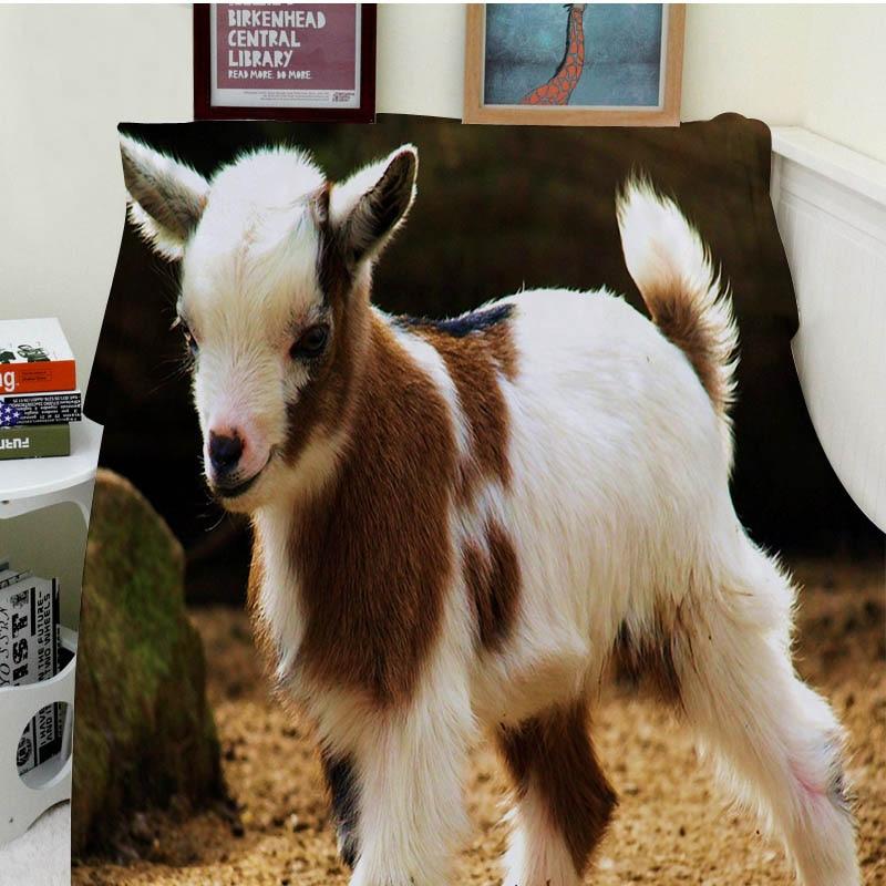 Decke Komfort Wrme Weichen Plsch Pflegeleicht Maschine Waschen Lustige Nette Kleine Ziege Schlafsofa Werfen Kind Erwachsene
