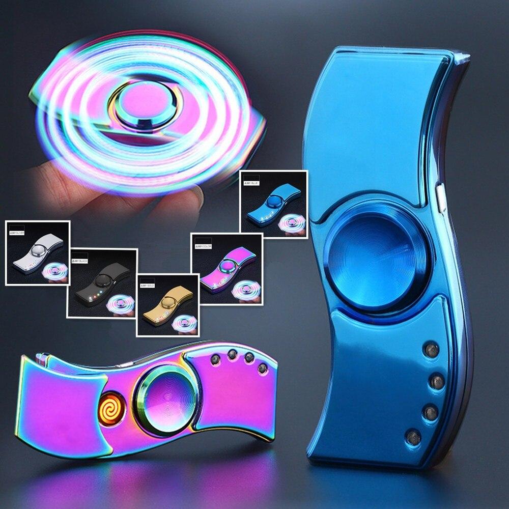 LED Fidget Spinner Lighter Zinc Alloy USB Electric Cigarette Lighter Windproof Rechargeable Lighter Finger Lighter Smoking Gift