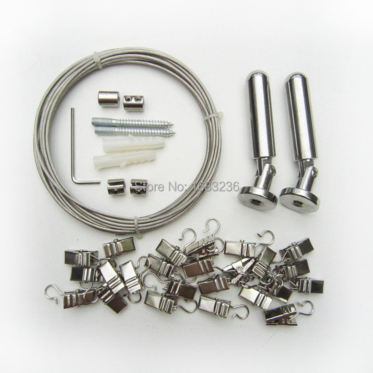 5m stainless steel curtain drapery drape wire rod set and 24 clips hanger photo art picture artwork