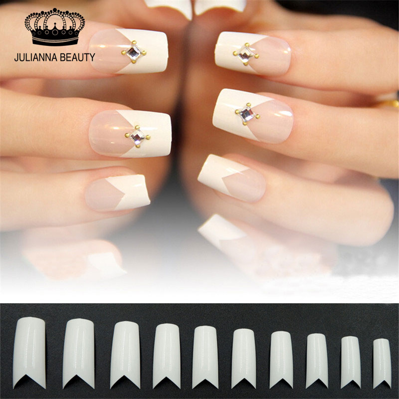 550PCS Long False Nails V Shapes French ABS Nail Tips Acrylic Fake ...
