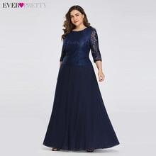 Długa Plus rozmiar suknia wieczorowa kiedykolwiek ładna 3/4 rękawy koronkowa szyfonowa formalna suknia wieczorowa EB07640NB wokół szyi jesień szata De wieczór
