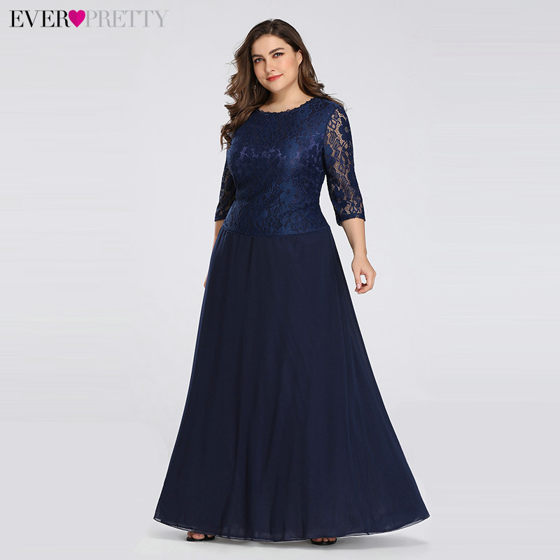 Long Plus Size Evening Dress Ever Pretty 3/4 Sleeves Lace Chiffon Formal Party Gown EB07640NB Round Neck Autumn Robe De Soiree