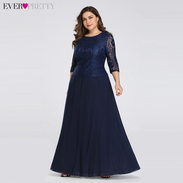74a1479c42d77f Long Plus Size Evening Dress Ever Pretty 3/4 Sleeves Lace Chiffon Formal  Party Gown EB07640NB Round Neck Autumn Robe De Soiree