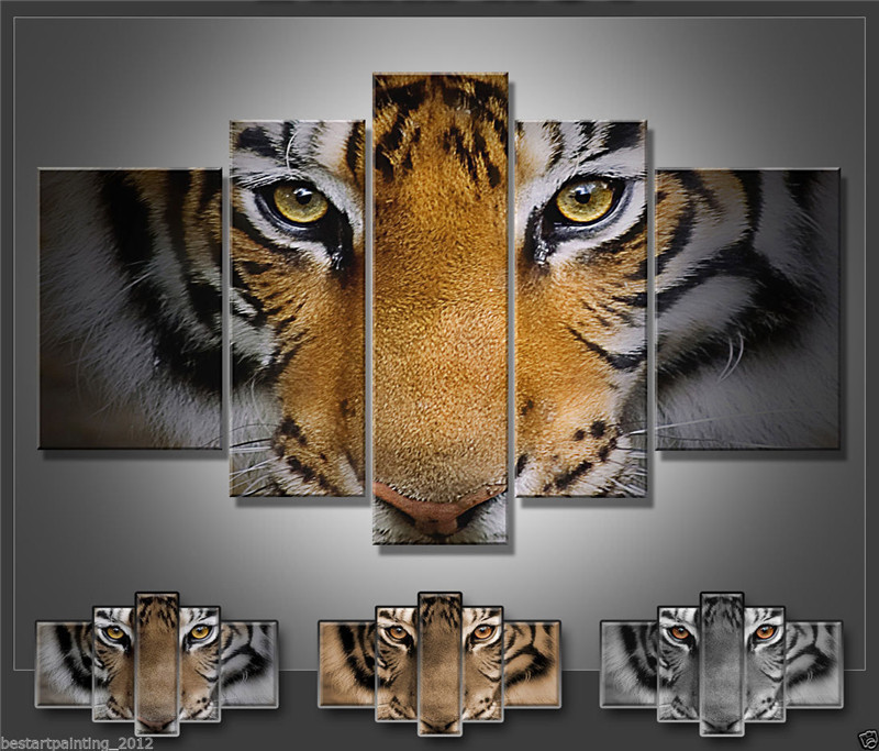 5 Panels Artwork Paintings Modern Canvas Prints Tiger