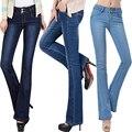 2016 primavera novos modelos alargamento calças stretch jeans Slim micro alto-falante fino calças compridas femininas cintura coreano