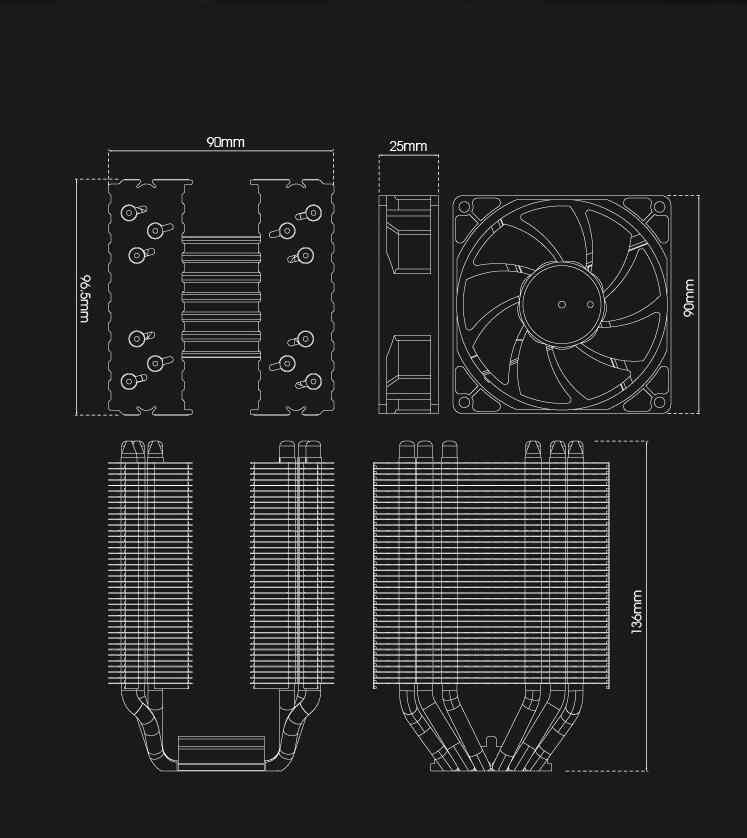 Aigo Darkflash refroidisseur de processeur 6 caloducs double tour radiateur 90mm ventilateur LED 3pin ventilateur cpu refroidissement pour ordinateur LGA775/115x/1366 AMD