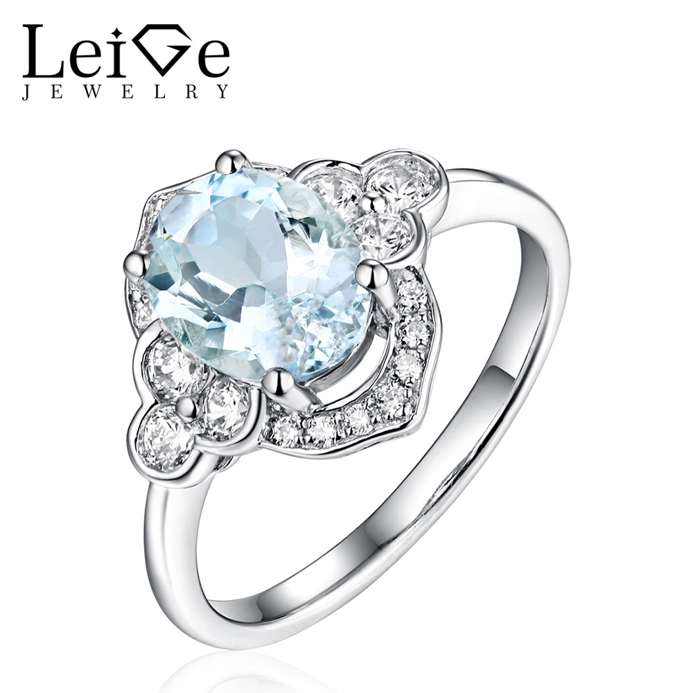 Leige smykker Oval Cut Aquamarine Ring Sterling Silver Wedding - Fine smykker