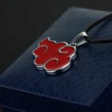 Classic Anime Naruto Necklace Akatsuki Member's Logo Red Cloud Pendant Necklace For Women Men Fashion Jewelry Accessories