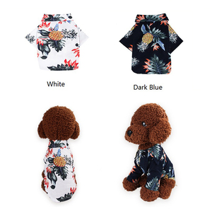 Image 4 - Dog Clothes Cotton Summer Beach Vest Short Sleeve Pet Clothes Floral T Shirt Hawaiian Tops For Small Large Dogs Chihuahua