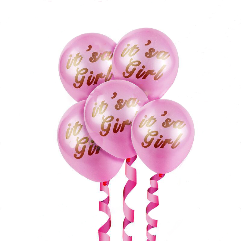 10Pcs Pink White Its A Girl Baby Princess Latex Pink Balloons For Baby Girl Favor Birthday Baby Shower Party Decoration Baloon