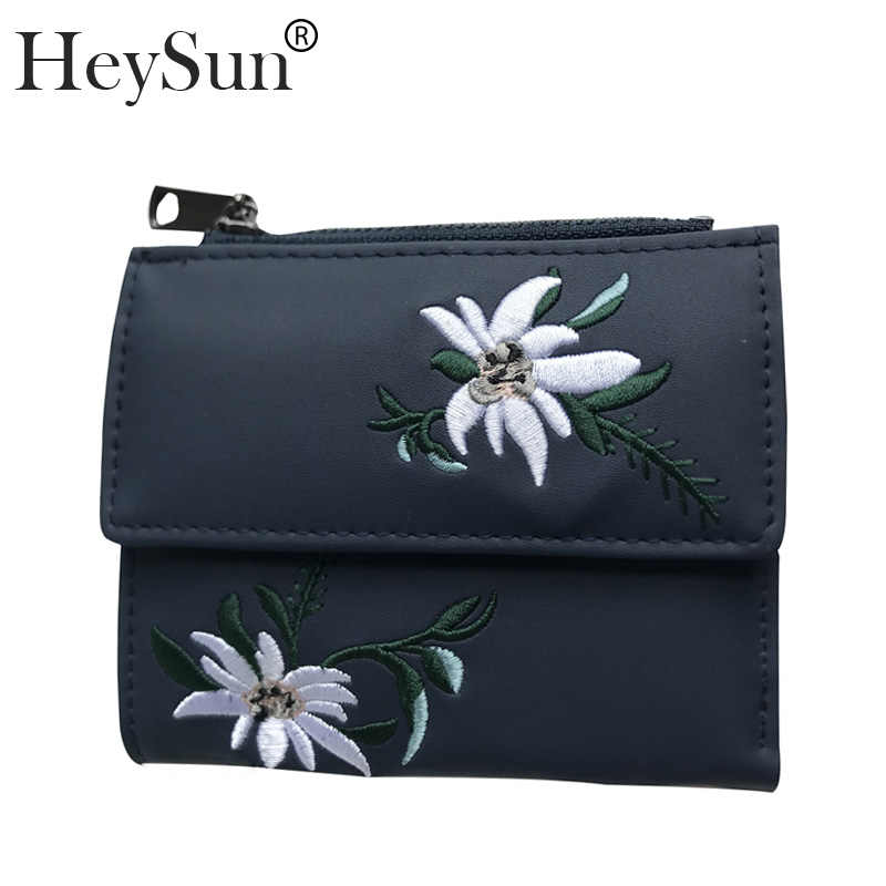 4bf90ff18563 Women Wallet Flowers Embroidered Ladies Fashion Purses Zipper Mini Bag PU  Leather Coin Purse Card Holder Short Wallets