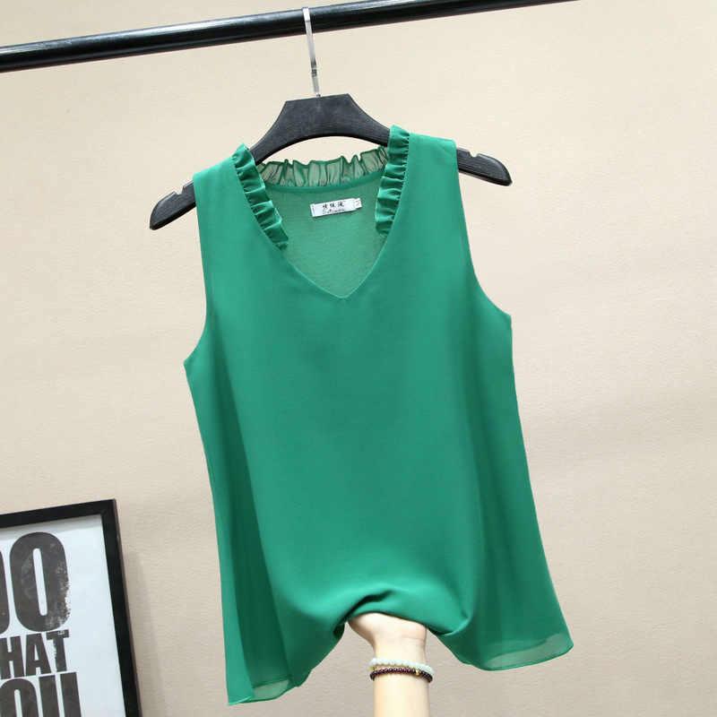 2019 nuevo verano Casual volantes cuello en V chifón tanques mujeres elegante suelta 5XL de talla grande sin mangas blusa ajustada todo-fósforo camisetas M710