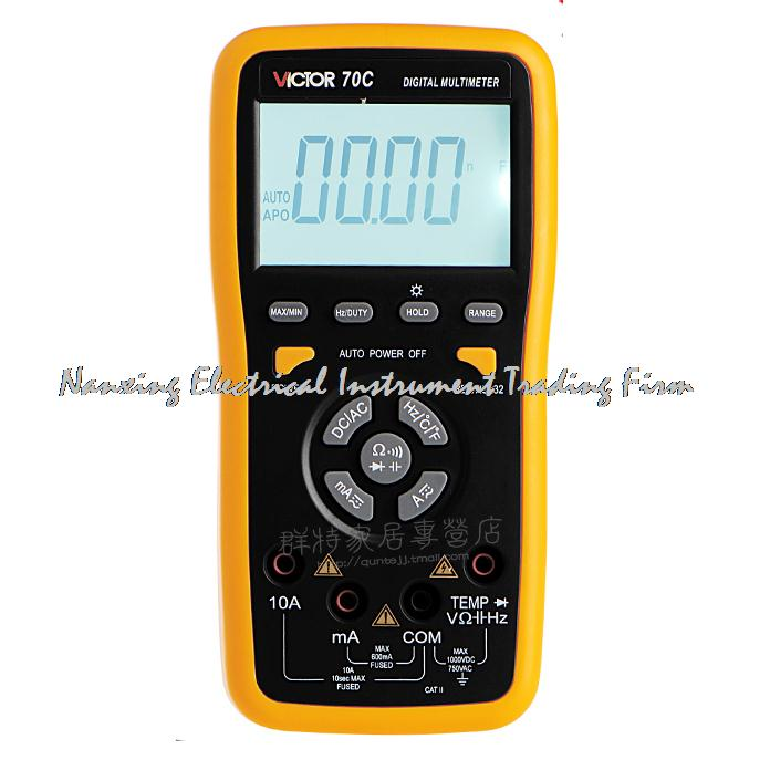 Fast arrival True RMS VICTOR 70C 3 5 / 6Key Touch Digital Multimeter Resistance Capacitance Victor Multimeter victor lcd 3 1 2 digital multimeter vc9804a