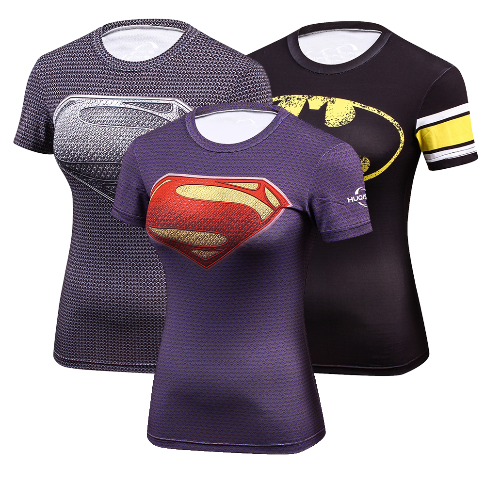 Women Compression T shirt Dry Quick Short Sleeve T-shirts Fitness Women Elastic Slim Superman printing Tight T-shirt