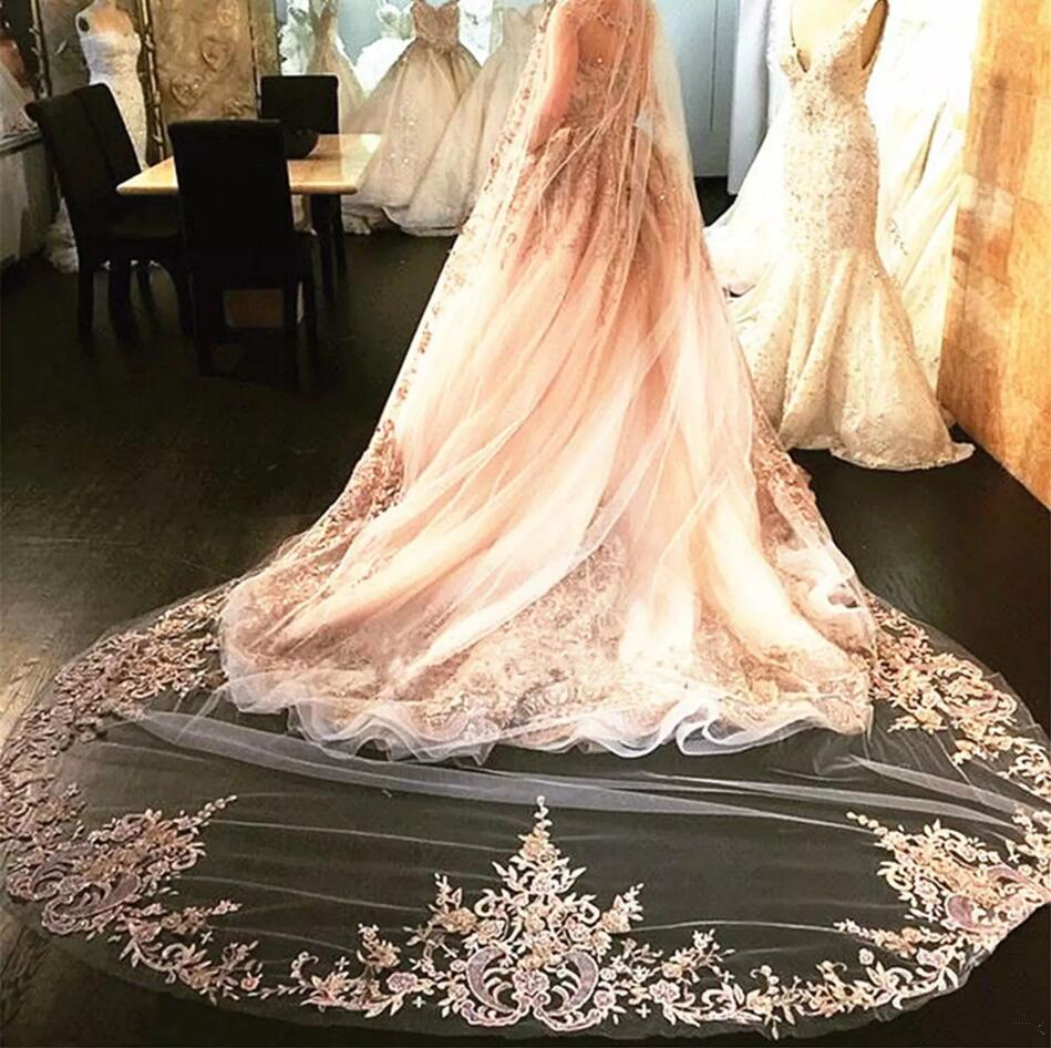 Luxury champagne crystal bridal veils cathedral length for Long veils for wedding dresses