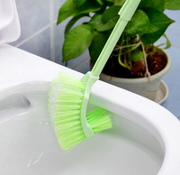 2pcs Lot Double Side Toilet Brush Holder Plastic Long Handled Cleaning Brush Household Products Bathroom Accessories