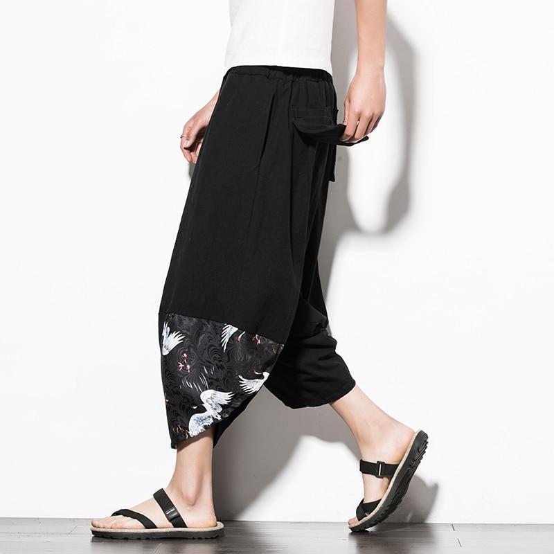 2018 китайский широкие брюки из хлопка и льна брюки Для мужчин Pantaloni Uomo Повседневное плюс Размеры 5xl лоскутное Pantalon Lino Hombre до середины икры Дли... ...