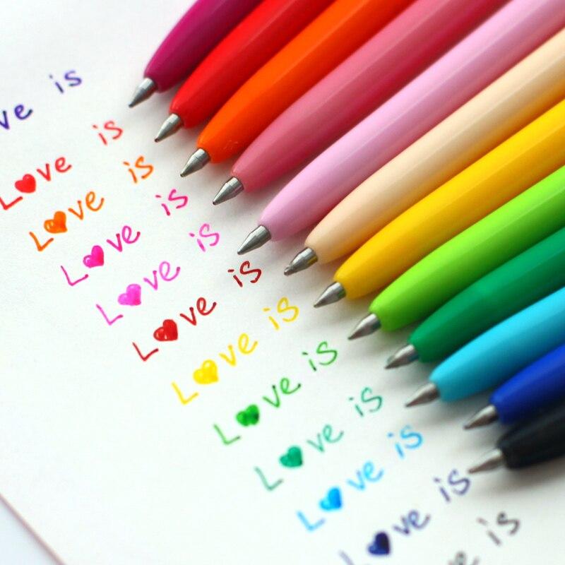 12 шт./упак. гелевая ручка корейские канцелярские принадлежности мульти Цвет ручка 12 Цветов Цвет s набор гелевых ручек, способный преодолеват...