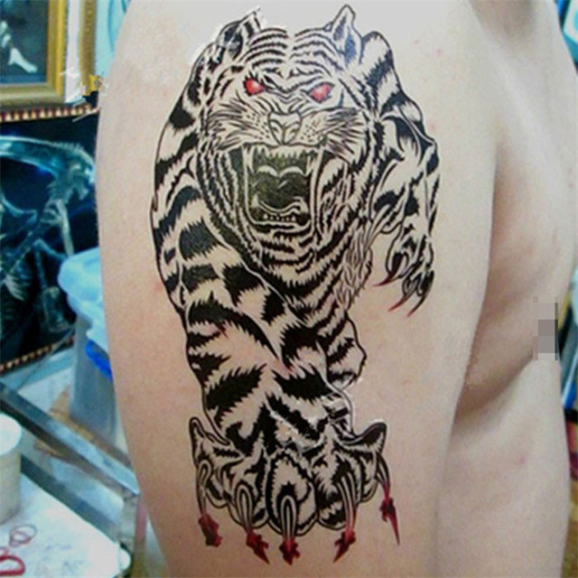 Best Seller 1pcs Chest Waterproof Tiger Tattoo Stickers Prothorax
