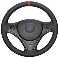Black Leather Car Steering Wheel Cover for BMW E90 325i 330i 335i