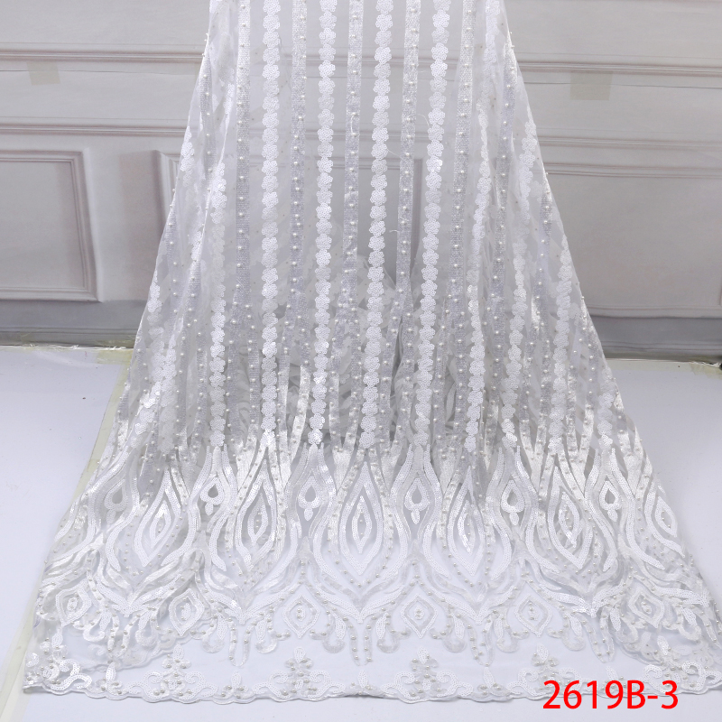 African Lace Fabric 2019 French Lace High Quality Tulle Mesh Net  Lace Fabric With Sequins And Beads Nigerian Lace KS2619B-3