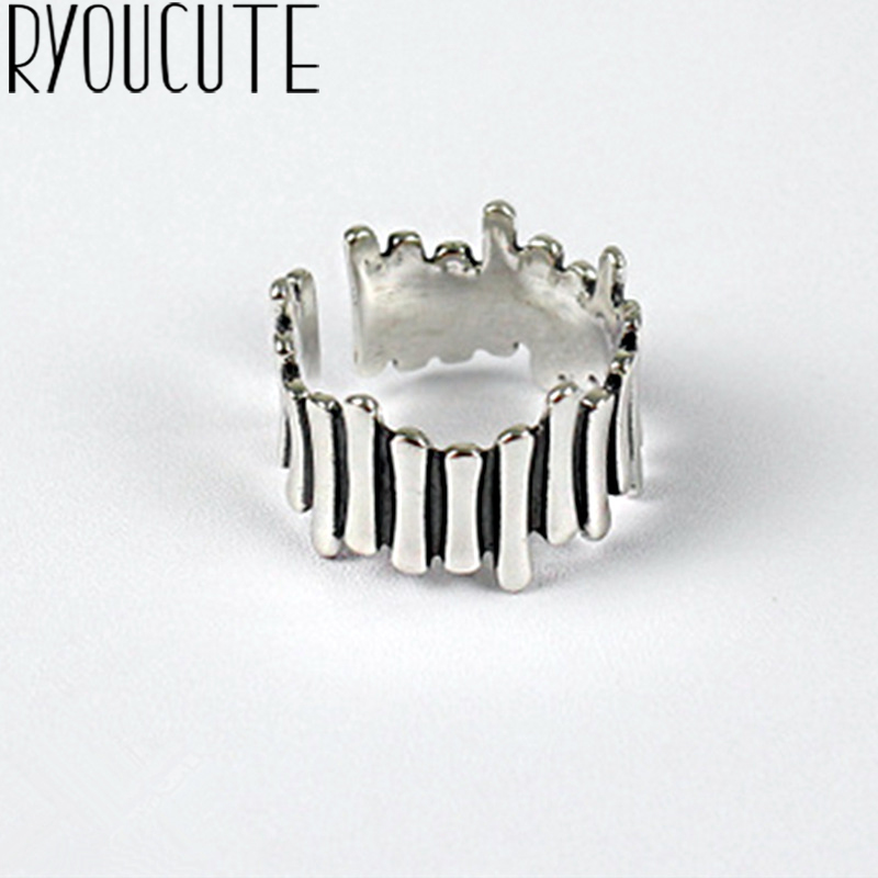 Fashion Vintage Silver Color Geometric Rings for Women Jewelry Adjustable Size Finger Engagement Antique Ring 1