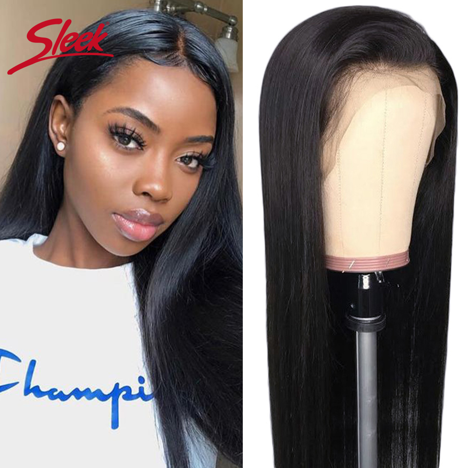Sleek Brazilian Remy 13x4 Lace Front Human Hair Wigs 12-28 30 Inch Straight Human Hair Wigs Pre Plucked Hairline With Baby Hair